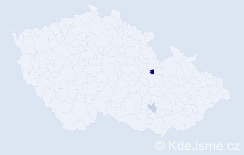 Příjmení: 'Alešíková', počet výskytů 2 v celé ČR