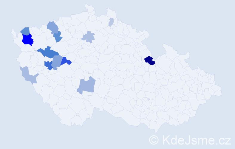 Příjmení: 'Leichtová', počet výskytů 45 v celé ČR