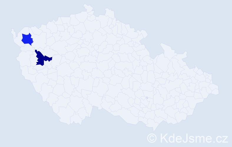 Příjmení: 'Fenderl', počet výskytů 2 v celé ČR