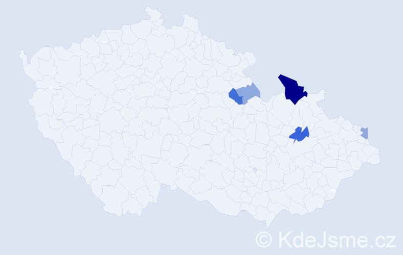Příjmení: 'Ďubková', počet výskytů 13 v celé ČR