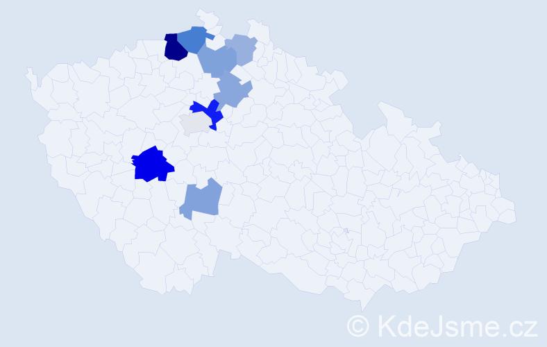 Příjmení: 'Čmuchař', počet výskytů 18 v celé ČR