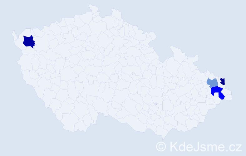 Příjmení: 'Bartečko', počet výskytů 12 v celé ČR
