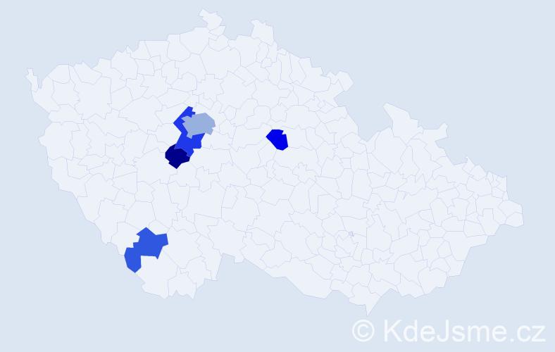 Příjmení: 'Hajnerová', počet výskytů 12 v celé ČR