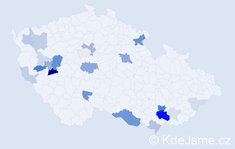 Příjmení: 'Čimerová', počet výskytů 69 v celé ČR