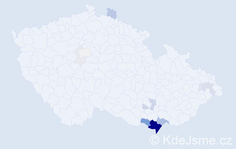 Příjmení: 'Garčicová', počet výskytů 64 v celé ČR