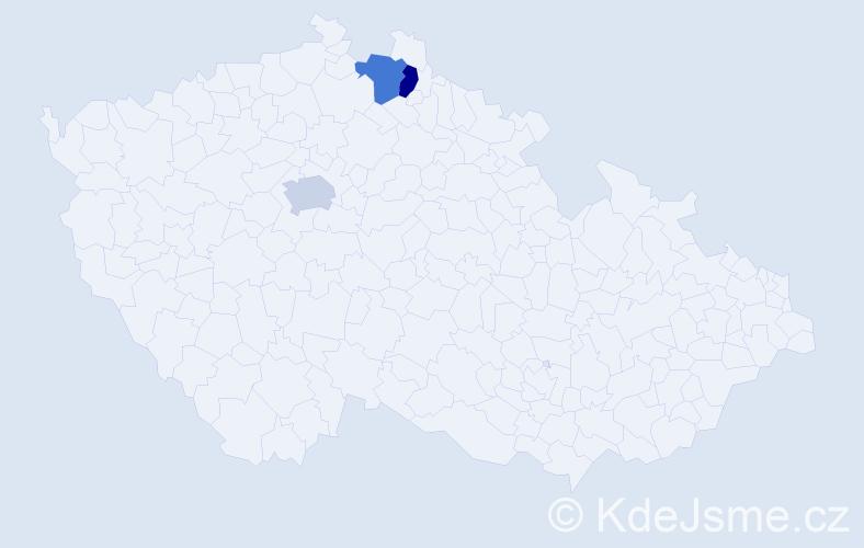 Příjmení: 'Čuttová', počet výskytů 3 v celé ČR