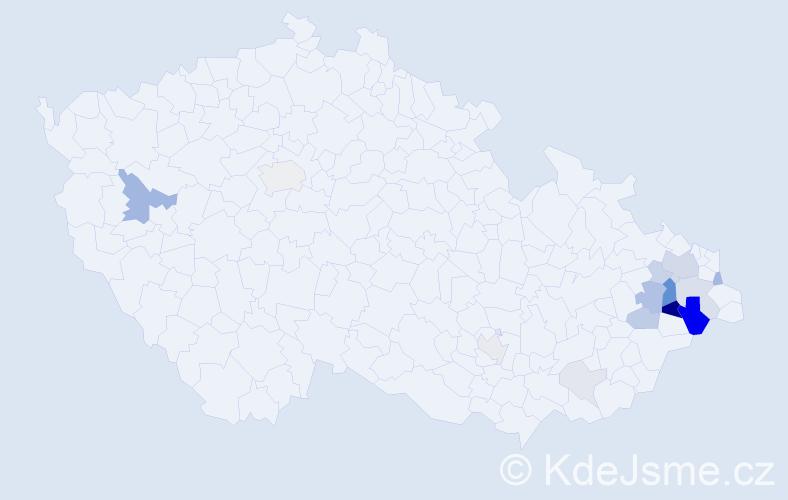Příjmení: 'Cochlarová', počet výskytů 52 v celé ČR