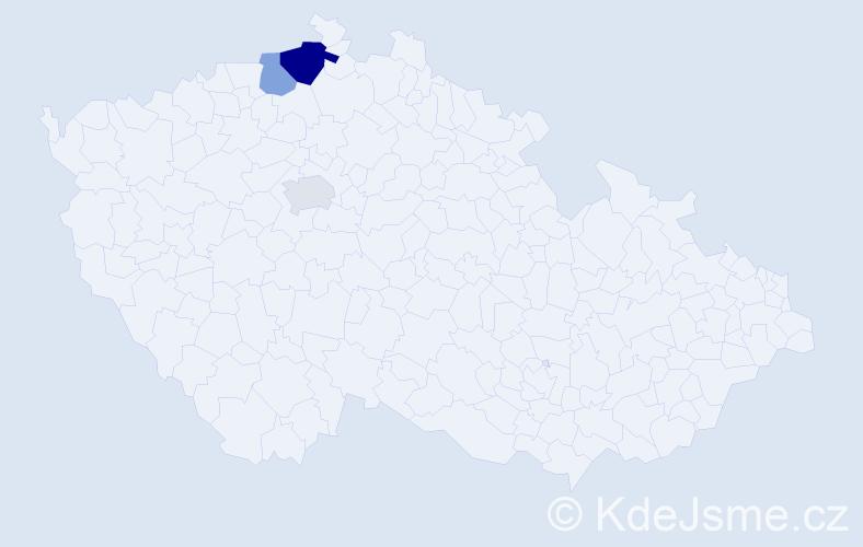 Příjmení: 'Hechter', počet výskytů 5 v celé ČR