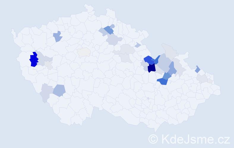 Příjmení: 'Hrabáček', počet výskytů 100 v celé ČR