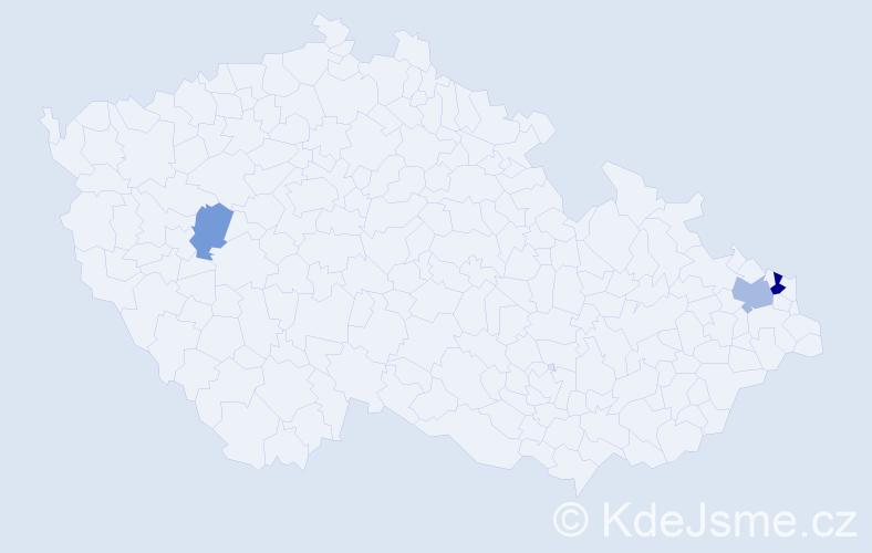 Příjmení: 'Andilová', počet výskytů 6 v celé ČR