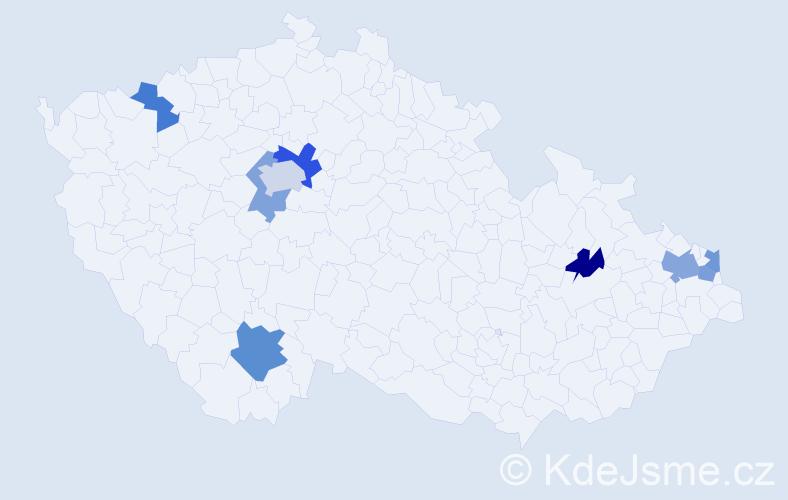 Příjmení: 'Augustovič', počet výskytů 13 v celé ČR