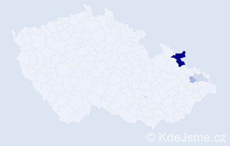 Příjmení: 'Kubacký', počet výskytů 15 v celé ČR