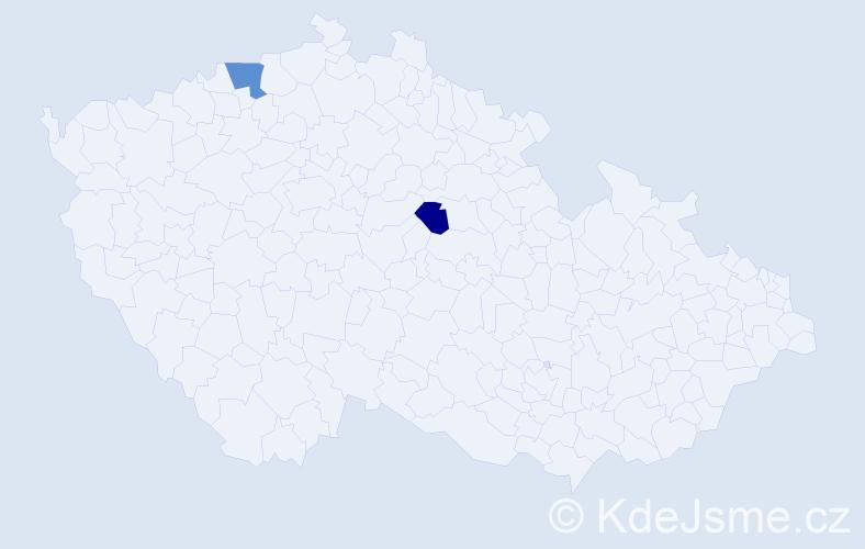 Příjmení: 'Bokserová', počet výskytů 5 v celé ČR