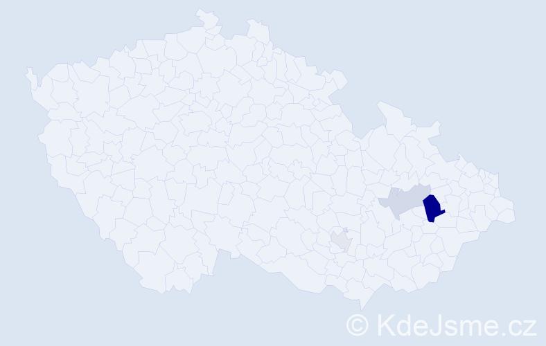 Příjmení: 'Kunat', počet výskytů 7 v celé ČR