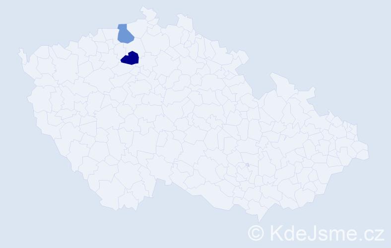 Příjmení: 'Imiolková', počet výskytů 3 v celé ČR