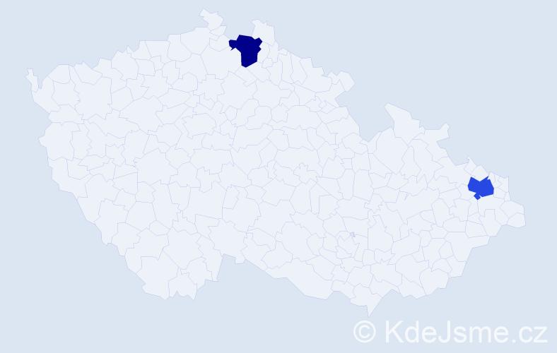 Příjmení: 'Kačani', počet výskytů 9 v celé ČR
