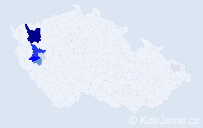 Příjmení: 'Čábalová', počet výskytů 18 v celé ČR