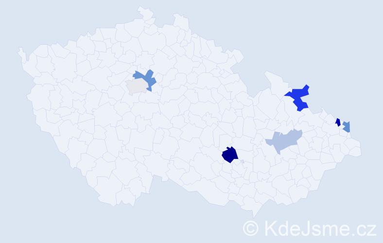 Příjmení: 'Harnolová', počet výskytů 12 v celé ČR