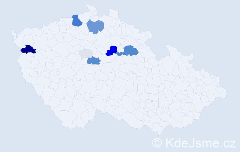 Příjmení: 'Lehoťan', počet výskytů 9 v celé ČR