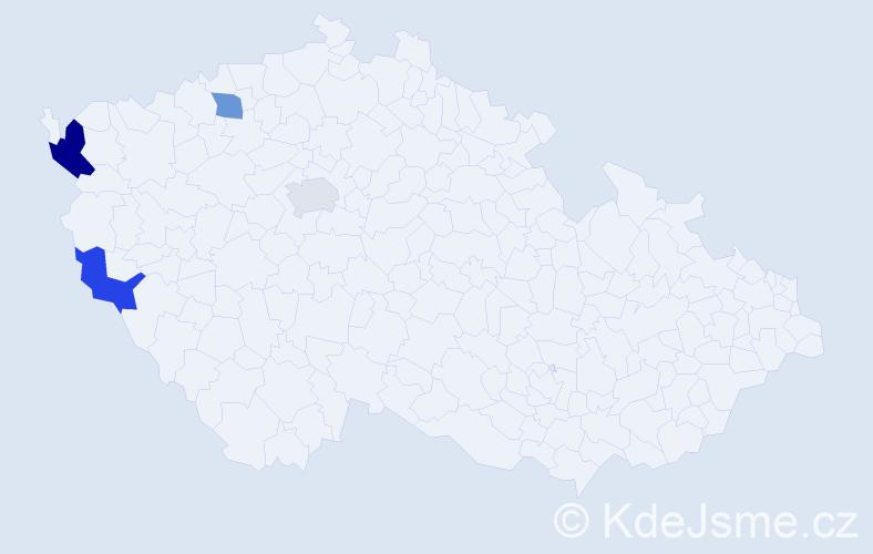 Příjmení: 'Čery', počet výskytů 5 v celé ČR