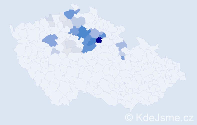 Příjmení: 'Čerych', počet výskytů 103 v celé ČR