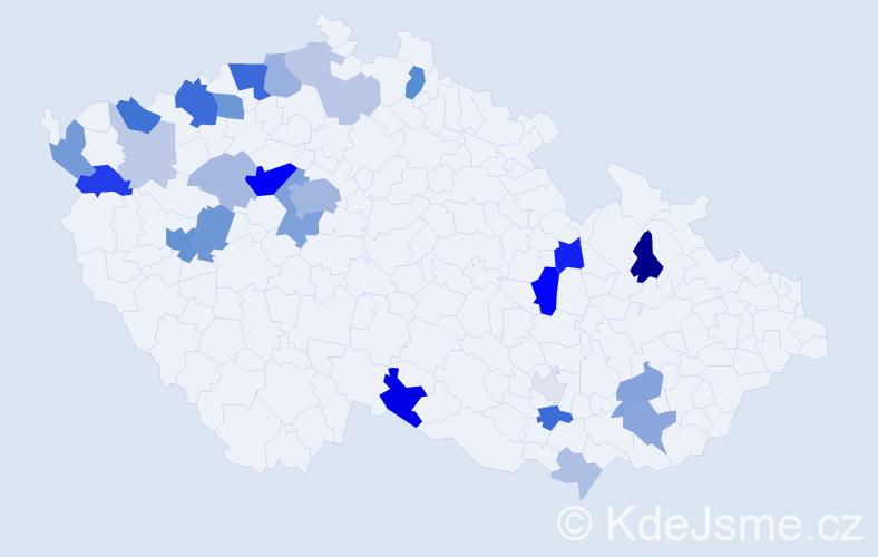 Příjmení: 'Kostová', počet výskytů 79 v celé ČR