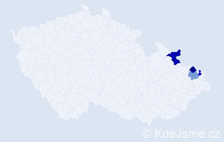 Příjmení: 'Gadzialová', počet výskytů 9 v celé ČR