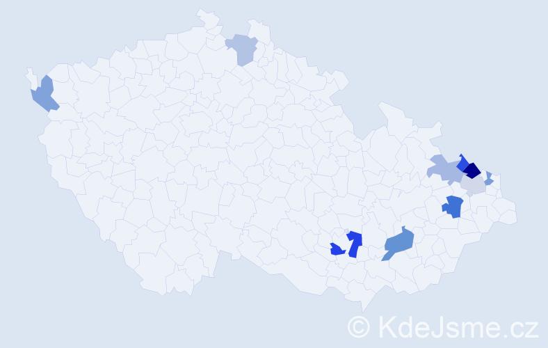 Příjmení: 'Garčár', počet výskytů 16 v celé ČR