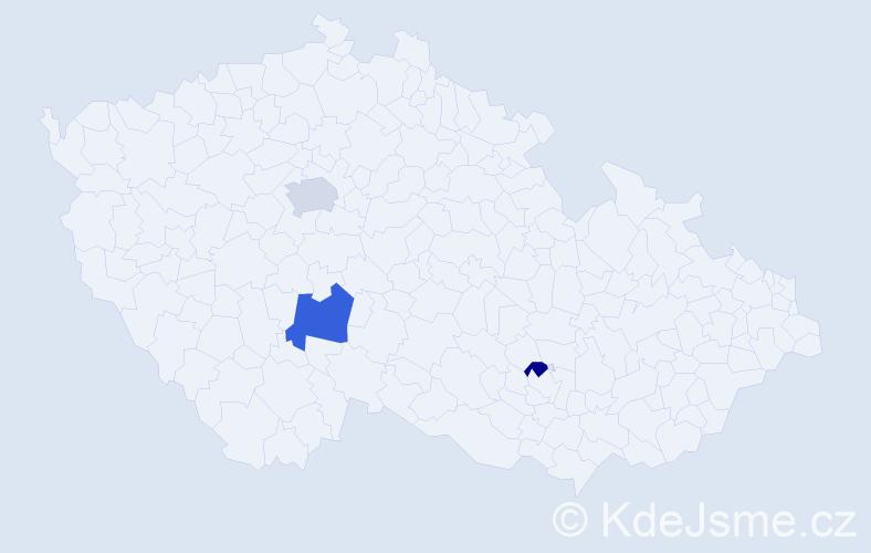Příjmení: 'Kajda', počet výskytů 5 v celé ČR