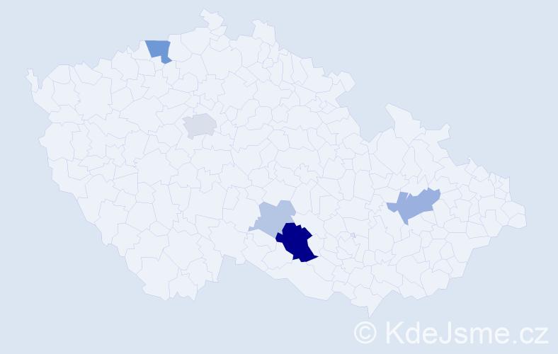 Příjmení: 'Lampíř', počet výskytů 16 v celé ČR