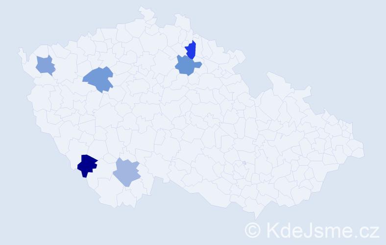 Příjmení: 'Hózová', počet výskytů 6 v celé ČR