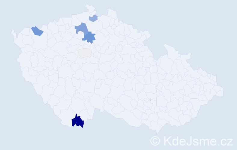 Příjmení: 'Hujslová', počet výskytů 14 v celé ČR