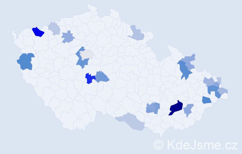 Příjmení: 'Cenigová', počet výskytů 52 v celé ČR