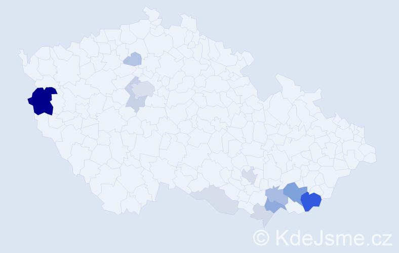 Příjmení: 'Kubena', počet výskytů 43 v celé ČR