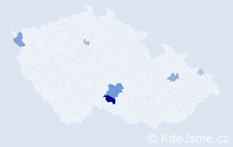 Příjmení: 'Eckerová', počet výskytů 16 v celé ČR