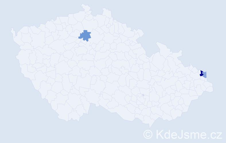 Příjmení: 'Hubincová', počet výskytů 5 v celé ČR