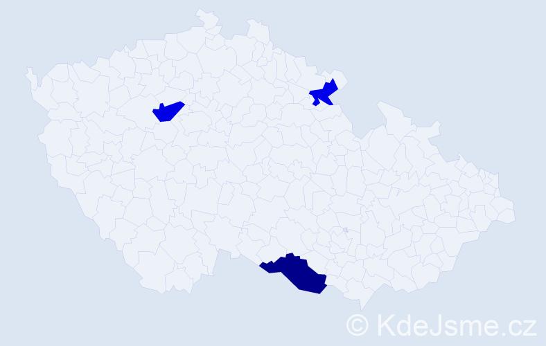 Příjmení: 'Hakličková', počet výskytů 8 v celé ČR