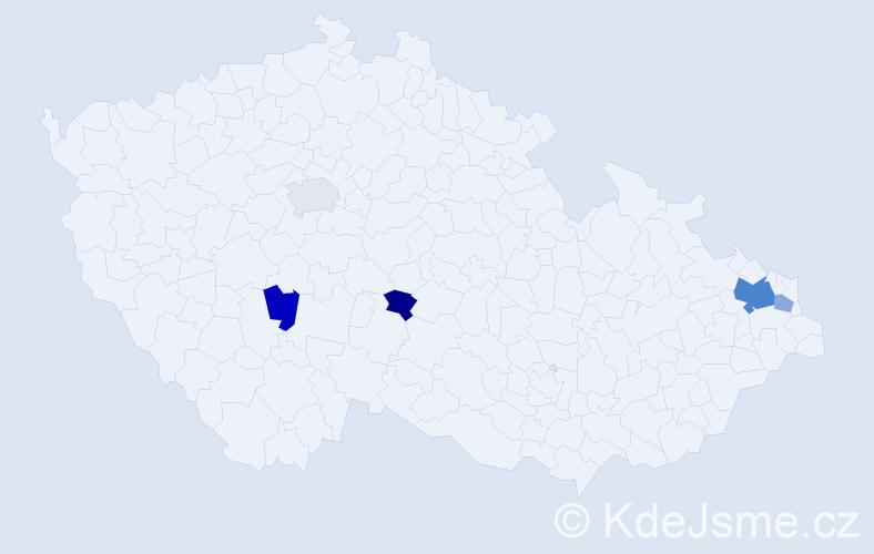 Příjmení: 'Andrejev', počet výskytů 10 v celé ČR