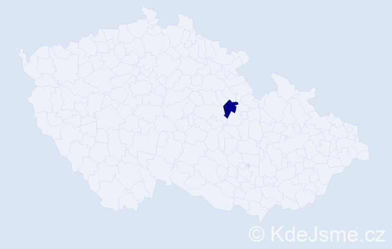 """Příjmení: '""""Bělohlávková Kašparová""""', počet výskytů 1 v celé ČR"""
