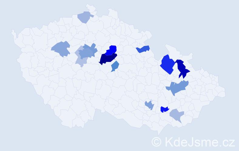 Příjmení: 'Žert', počet výskytů 46 v celé ČR