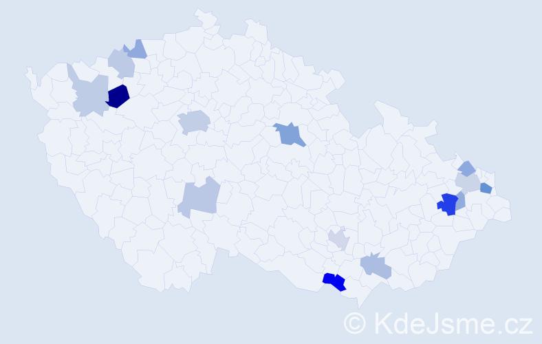 Příjmení: 'Hrehor', počet výskytů 34 v celé ČR