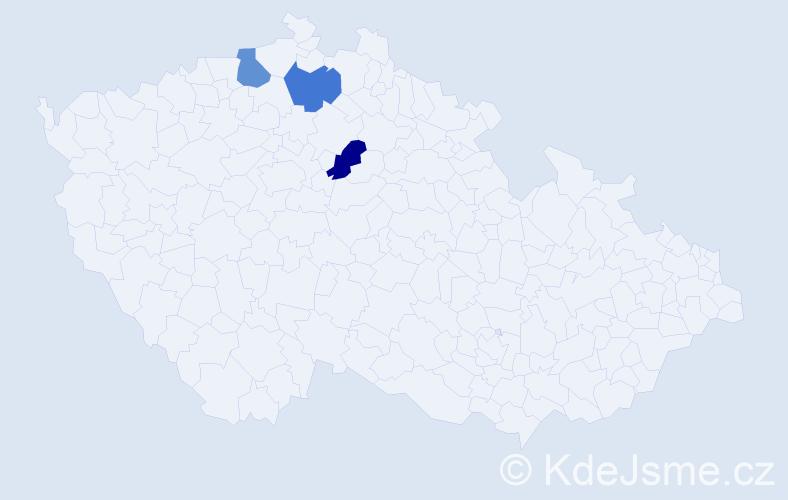 Příjmení: 'Blaněk', počet výskytů 3 v celé ČR