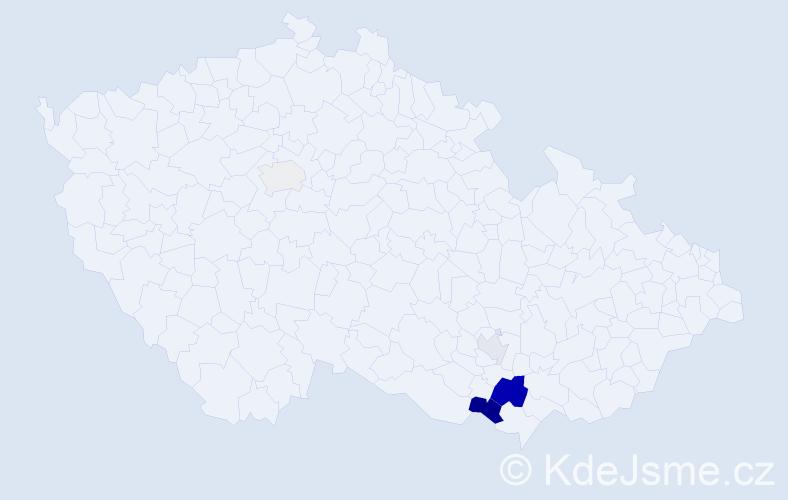 Příjmení: 'Galousek', počet výskytů 10 v celé ČR
