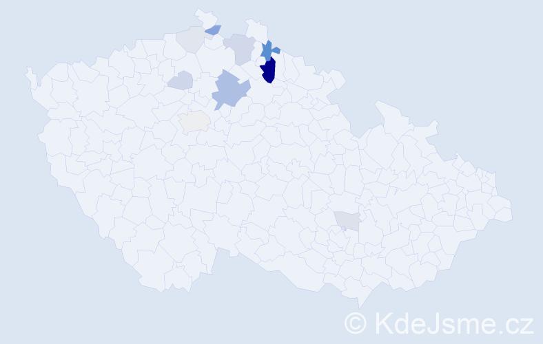 Příjmení: 'Flekna', počet výskytů 30 v celé ČR
