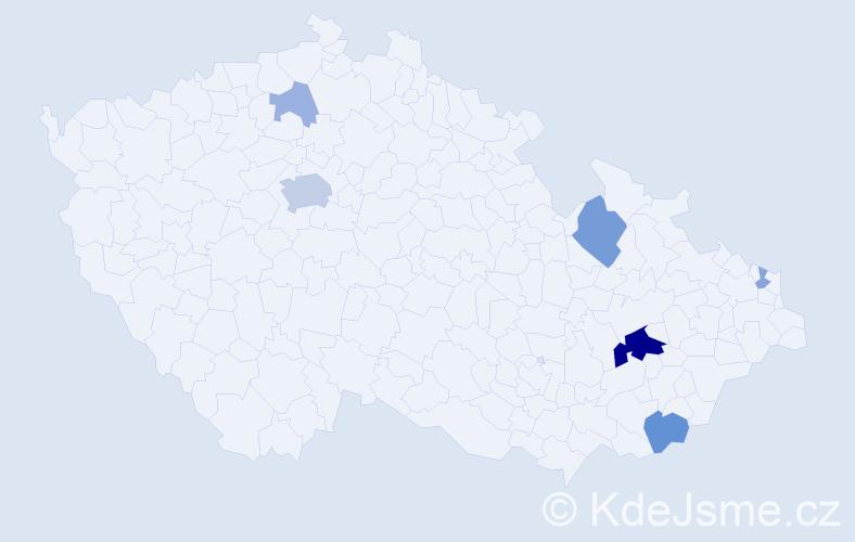 Příjmení: 'Kvašňáková', počet výskytů 19 v celé ČR