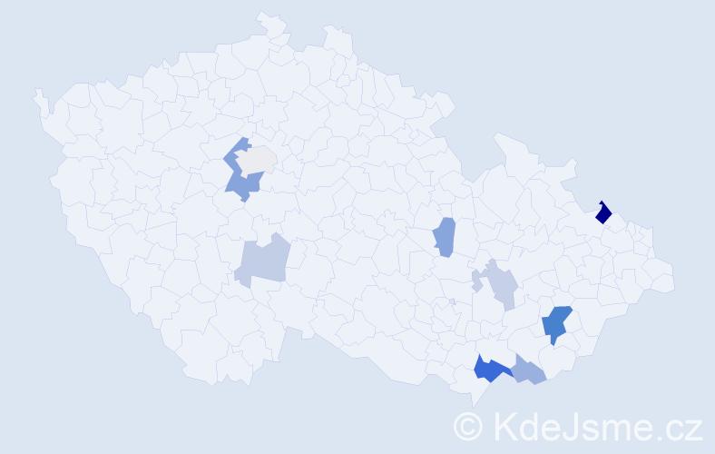 Příjmení: 'Barinka', počet výskytů 22 v celé ČR