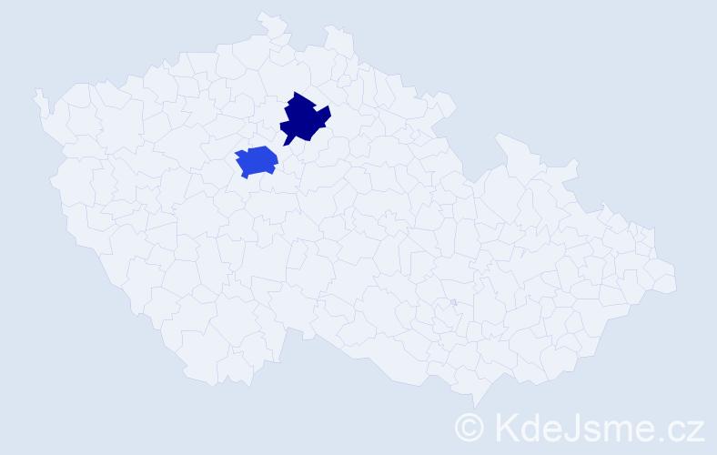 Příjmení: 'Čertok', počet výskytů 6 v celé ČR
