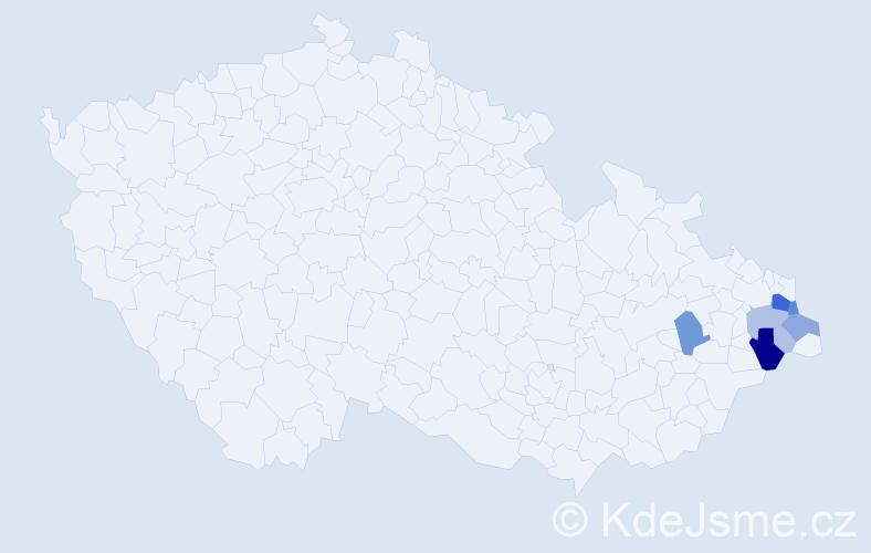 Příjmení: 'Fijak', počet výskytů 10 v celé ČR