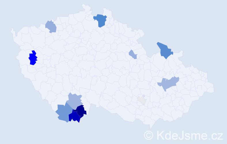 Příjmení: 'Koprna', počet výskytů 42 v celé ČR