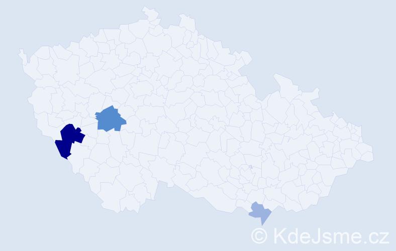 Příjmení: 'Cariková', počet výskytů 9 v celé ČR